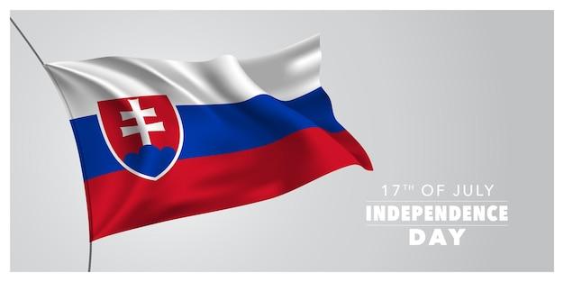 Illustrazione felice del giorno dell'indipendenza della slovacchia. festa slovacca 17 luglio elemento di design con bandiera sventolante come simbolo di indipendenza
