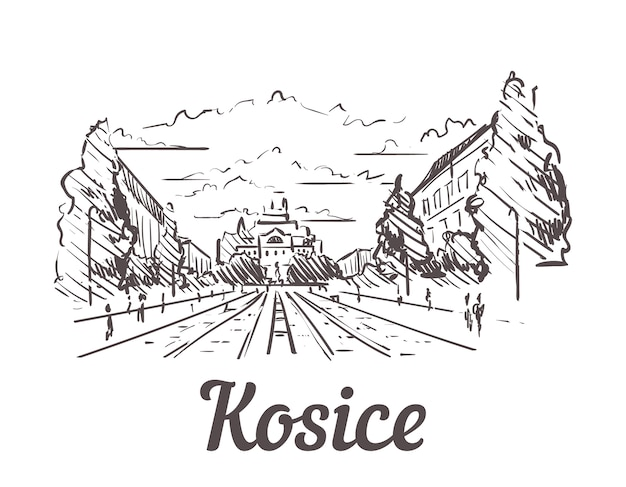 Slovacchia, paesaggio disegnato a mano di kosice