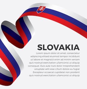 Illustrazione di vettore della bandiera del nastro della slovacchia su una priorità bassa bianca vettore premium