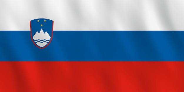 Bandiera della slovenia con effetto ondeggiante, proporzione ufficiale.