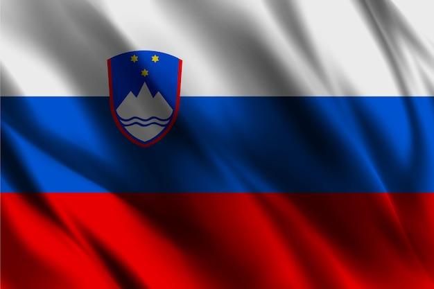 Bandiera nazionale della slovenia ondeggiante sfondo di seta