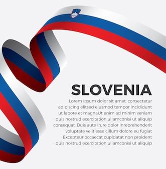 Illustrazione di vettore della bandiera del nastro della slovenia su una priorità bassa bianca vettore premium