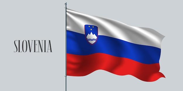 La slovenia sventola bandiera sul pennone.