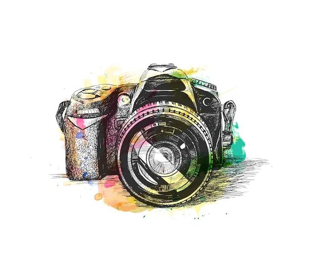 Fotocamera reflex disegnata a mano schizzo illustrazione vettoriale