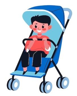 Piccolo neonato in carrozzina, kiddo isolato che tiene la maniglia della carrozzina. bambino seduto in comodo passeggino con protezione dal sole. viaggiare e camminare all'aperto. vettore in stile piatto