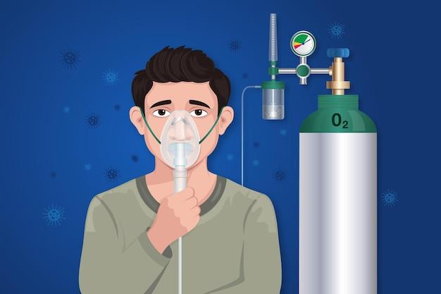 Il bambino indossa la maschera per l'ossigeno con la bombola Vettore Premium