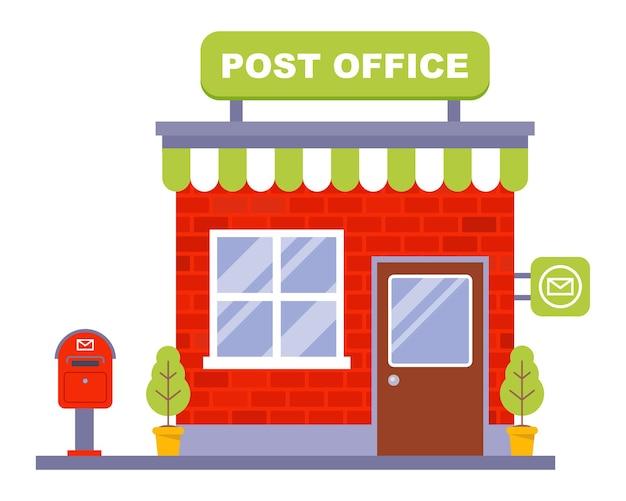 Piccolo ufficio postale in mattoni. illustrazione vettoriale piatta