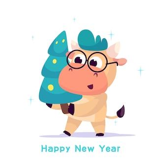 Un piccolo toro porta un albero di natale decorato per celebrare il nuovo anno.