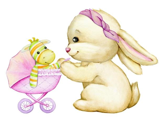 Un coniglietto, una zebra giocattolo, un passeggino. un concetto di acquerello.