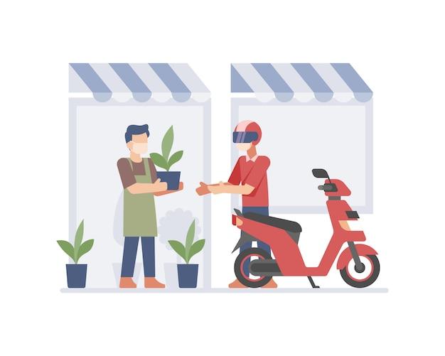 Un piccolo imprenditore che invia una pianta al cliente utilizzando l'illustrazione del servizio di consegna in linea del corriere