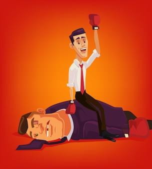 Il carattere del piccolo uomo d'affari vince i grandi uomini d'affari e l'illustrazione piana del fumetto di corruzione