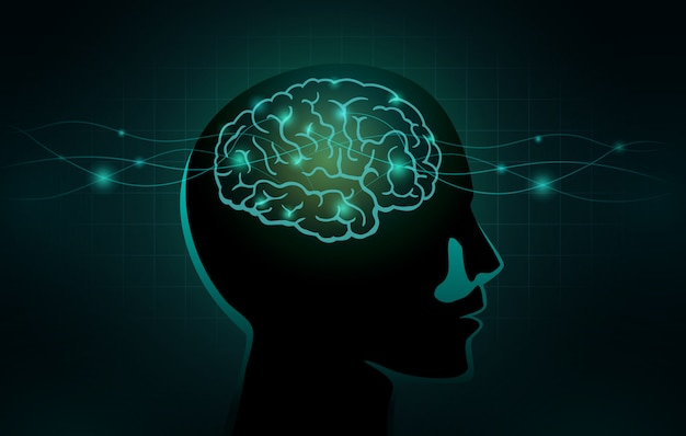 Le piccole cellule e la linea d'onda si spostano nel cervello umano