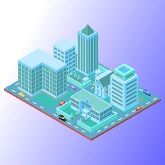 Piccola città con edifici che utilizzano colori tenui