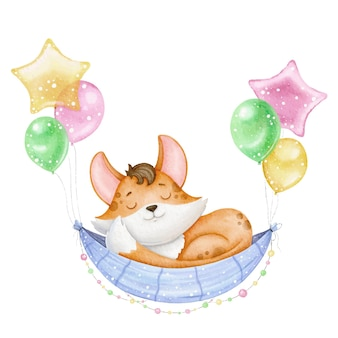 Piccola volpe carina dorme su un'amaca su palloncini, illustrazione per bambini per una stanza dell'asilo o stampa