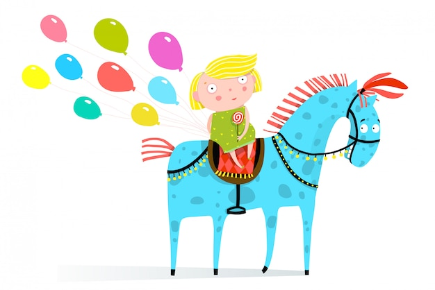 Piccola ragazza a cavallo con palloncini natalizi