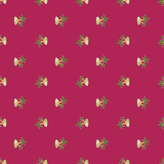 La piccola isola verde e gli elementi della palma modellano il modello senza cuciture. sfondo rosa brillante. ornamento di scarabocchio. progettato per il design del tessuto, la stampa tessile, il confezionamento, la copertura. illustrazione vettoriale.