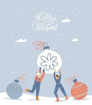 Piccoli personaggi felici di uomo e donna che si preparano per il natale minuscole persone che tengono in mano un'enorme palla di albero di natale...
