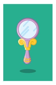 Illustrazione vettoriale di un piccolo specchio per il trucco