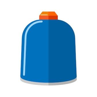 Piccola bombola per gas in metallo isolata su sfondo bianco. bottiglia di propano blu senza contenitore icona maniglia in stile piatto. illustrazione di vettore di stoccaggio del carburante a tanica corta.