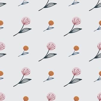 Tarassaco piccolo e medio su motivo floreale senza soluzione di continuità. sfondo rosa chiaro. per tessuto, stampa tessile, confezionamento, copertina. illustrazione.