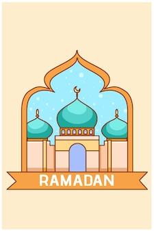 Piccola moschea all'illustrazione del fumetto di ramadan mubarak Vettore Premium