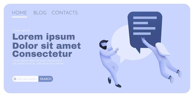 Piccole persone che volano intorno a una bolla di chat che parlano di un messaggero online di coppie o di un concetto di segno di contatti