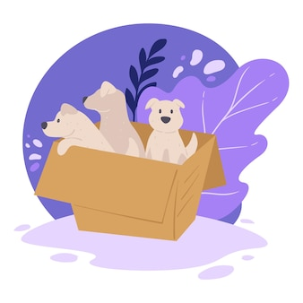Piccoli cuccioli in scatola di cartone, rifugio per animali per adozione di animali domestici