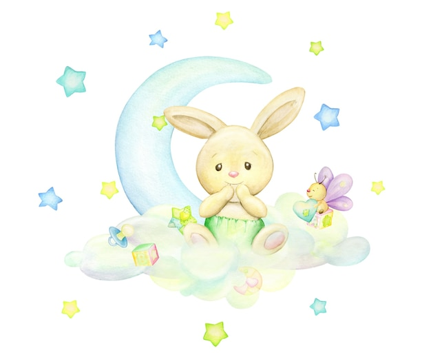 Un piccolo coniglio, seduto su una nuvola, sullo sfondo della luna e delle stelle. concetto di acquerello e sfondo isolato in toni morbidi.