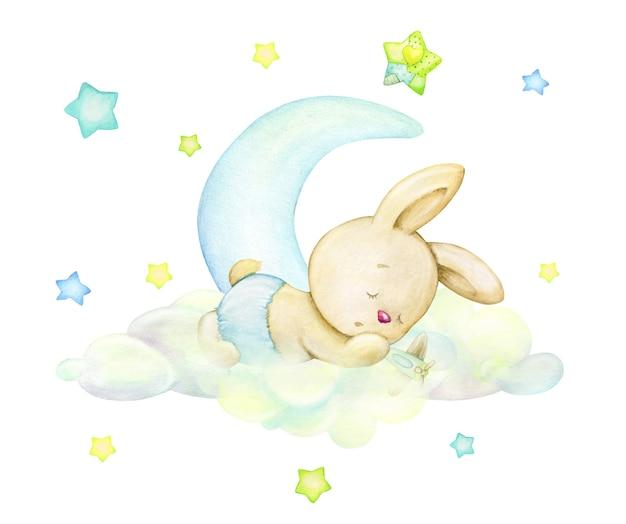 Un piccolo coniglio, addormentato su una nuvola, sullo sfondo della luna e delle stelle. concetto di acquerello e sfondo isolato, in colori delicati.