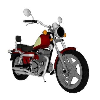 Piccolo look chopper classico rosso. illustrazione a colori vettoriale con linee di contorno.