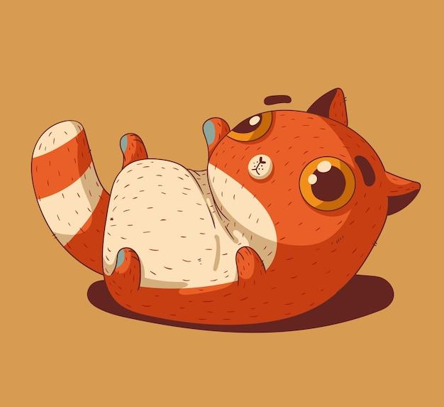 Un piccolo gattino rosso sdraiato sulla schiena verso l'alto con lo stomaco