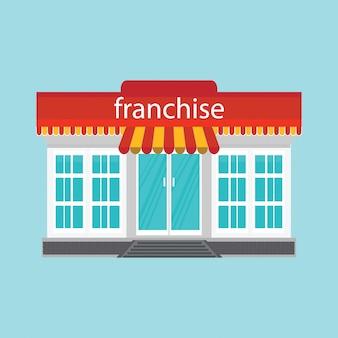Piccolo negozio o franchising isolato su sfondo blu.