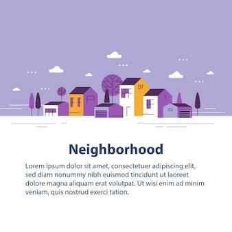 Piccola città, vista sul minuscolo villaggio, fila di case residenziali, bellissimo quartiere, sviluppo immobiliare, illustrazione di design