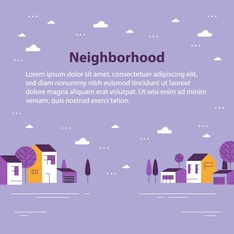 Piccola città, vista sul piccolo villaggio, fila di case residenziali, bel quartiere