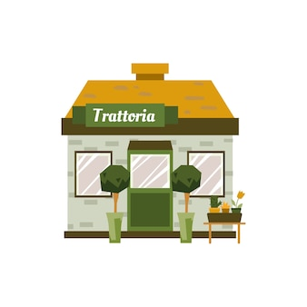 Esterno di un edificio piccolo trattoria su priorità bassa bianca - facciata anteriore del fumetto di piccolo caffè decorato con piante da appartamento. illustrazione.
