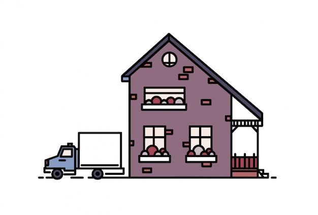 Piccola casa suburbana a due piani con portico costruito con mattoni in stile architettonico moderno e camion parcheggiato accanto.