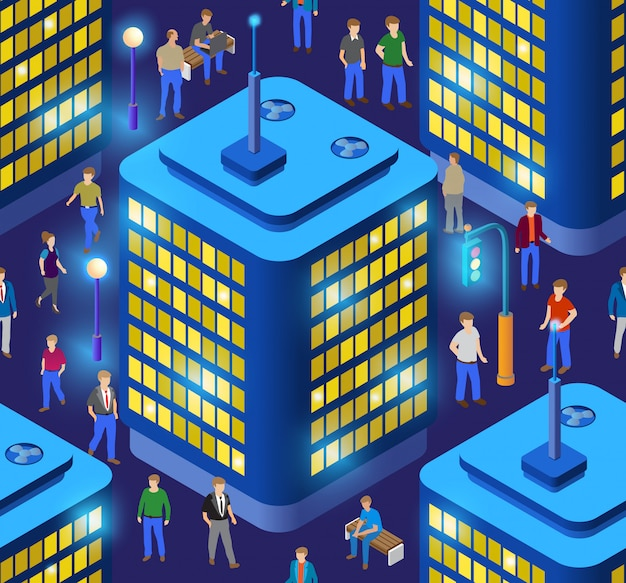 Illustrazione 3d intelligente senza soluzione di continuità ripetendo la città su una viola