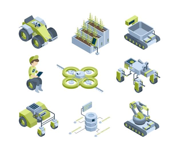 Agricoltura intelligente. future macchine agricole industriali trattori mietitrebbia innovativi robot serra organici lavorano pannelli di illuminazione isometrici. illustrazione robot trasporto mietitrebbiatrice
