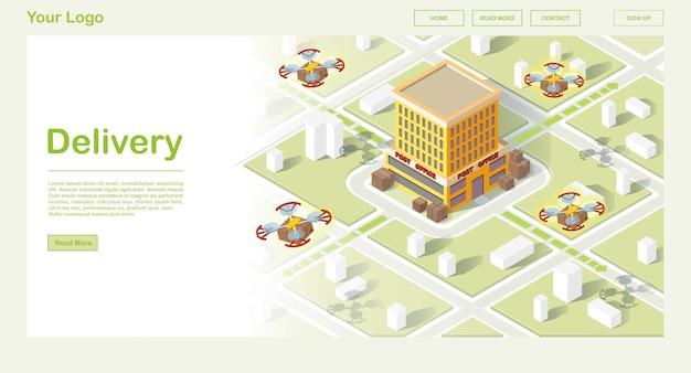 Modello di sito web isometrico consegna aria intelligente
