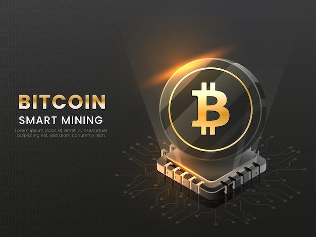 Concetto astuto di estrazione di bitcoin con l'illustrazione del chip 3d su cenni storici neri.