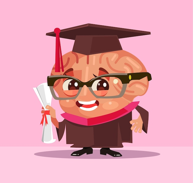 Carattere di studente laureato cervello intelligente.