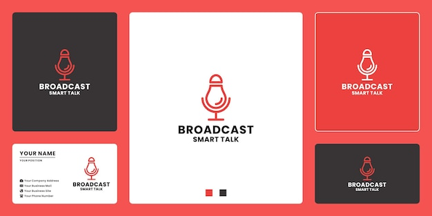 Design del logo del podcast di trasmissione intelligente. design del logo per parlare di intelligenza