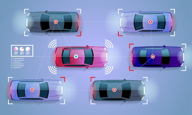 Smart car concept veicolo autonomo a guida autonoma sull'illustrazione stradale della città