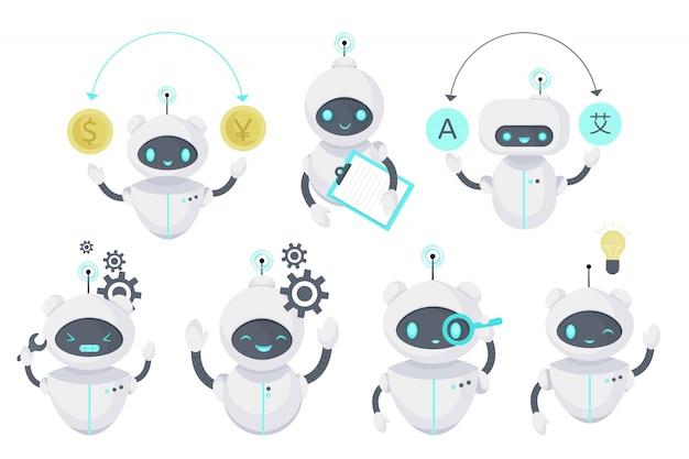 Smart chat bot, illustrazione della tecnologia. assistenza virtuale per robot. intelligenza artificiale. illustrazione piatta del fumetto