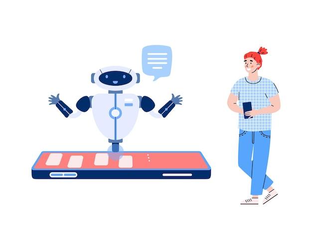 Il chatbot intelligente sullo schermo del telefono cellulare aiuta l'illustrazione del cliente