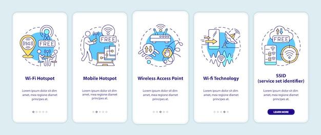 Accesso smart city alle opzioni internet a bordo della schermata della pagina dell'app mobile. procedura dettagliata 5 passaggi istruzioni grafiche con concetti. modello vettoriale ui, ux, gui con illustrazioni a colori lineari