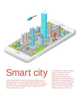 Concetto di città intelligente edifici 3d, strade con indicatori di navigazione, grattacielo,
