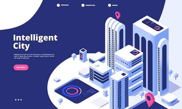 Concetto di città intelligente. pagina di atterraggio isometrica del grattacielo astuto della strada virtuale virtuale della città futura dell'ufficio urbano urbano dell'innovazione