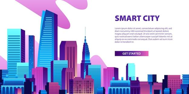 Concetto di città intelligente con edifici colorati e banner di grattacieli