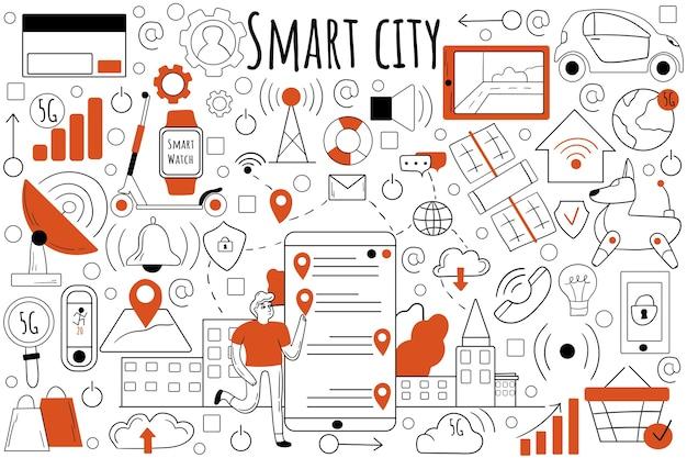 Insieme di doodle di città intelligente. raccolta di schizzi disegnati a mano scarabocchi.